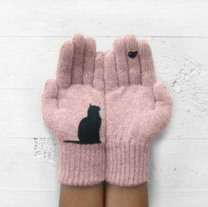 Cat Lover's Knitted Gloves
